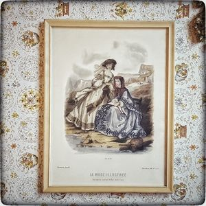 Vintage Antique Victorian fashion print framed
